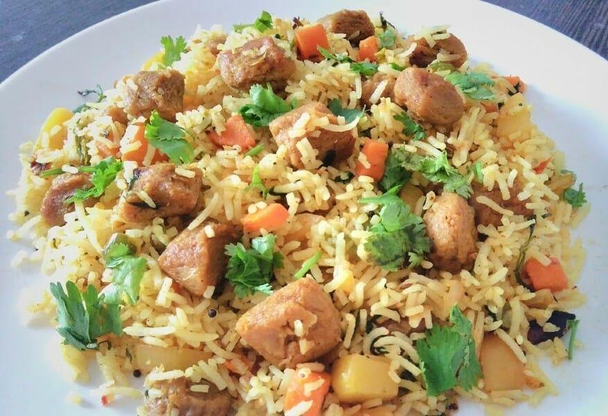 soya chunks pulao - சோயா சங்க் புலாவ்